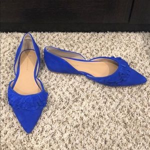 Anthropologie Blue Suede Ruffle D'Orsay Flats New